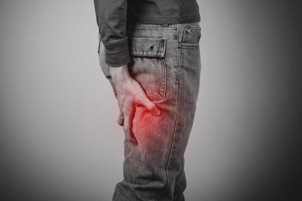 Man with hamstring pain, with sciatica.